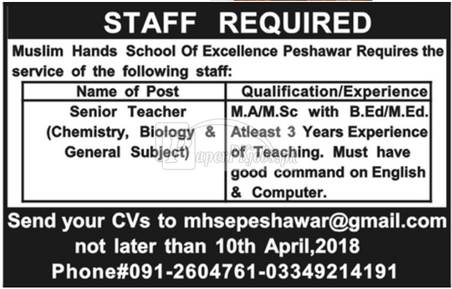 Muslim Hands School of Excellence Peshawar Jobs 2018