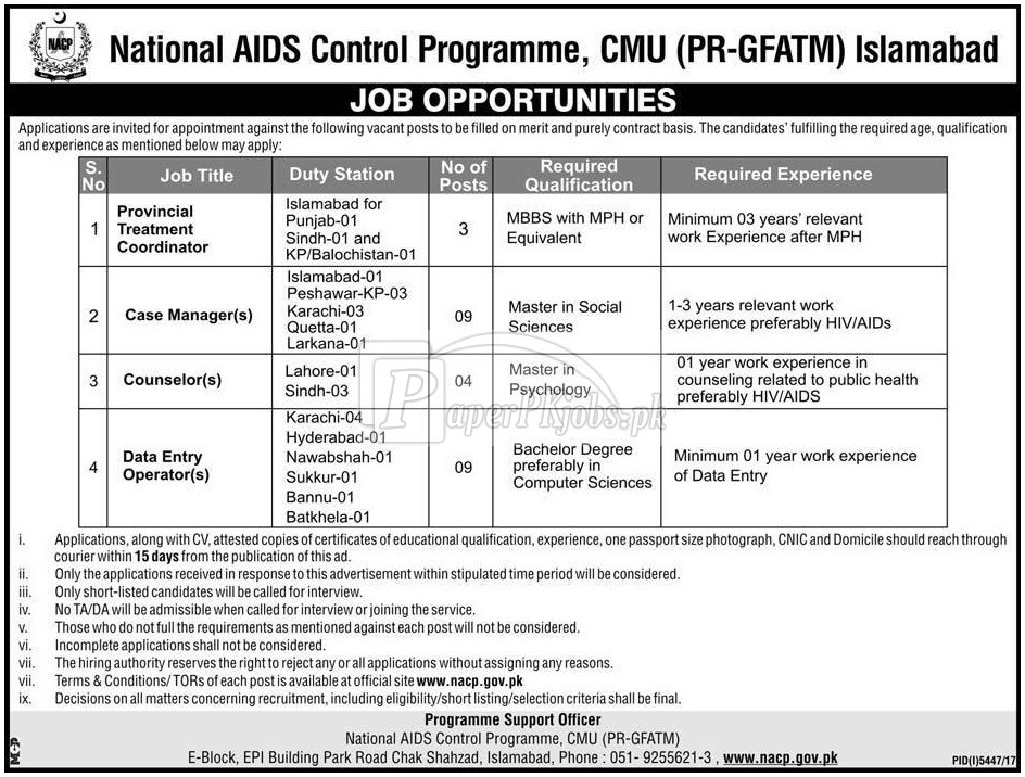 National AIDS Control Programme NACP Jobs 2018