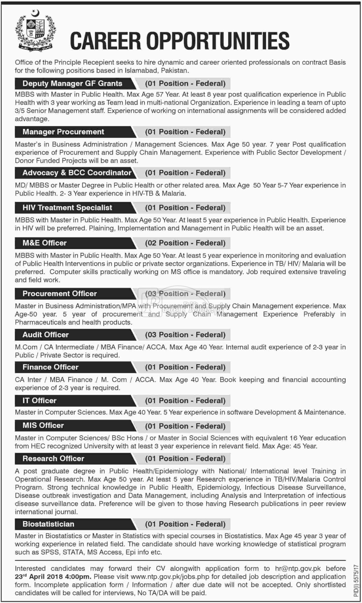 National TB Control Program NCP Jobs 2018
