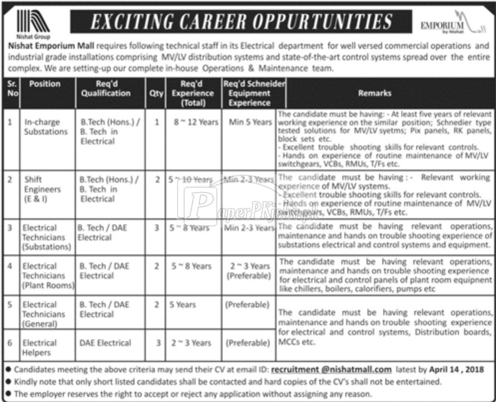 Nishat Emporium Mall Jobs 2018