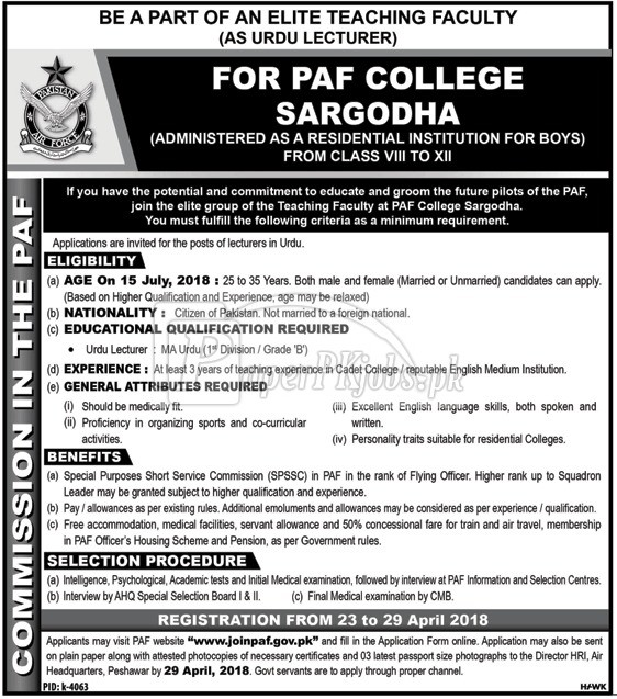 PAF College Sargodha Jobs 2018
