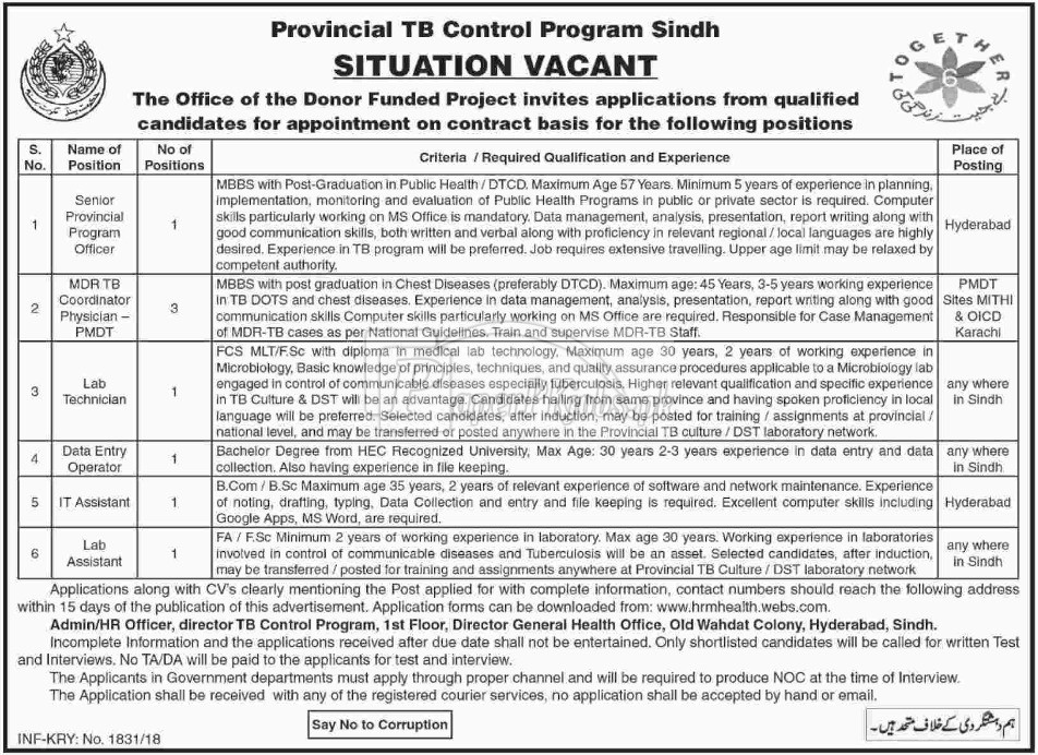 Provincial TB Control Program Sindh Jobs 2018