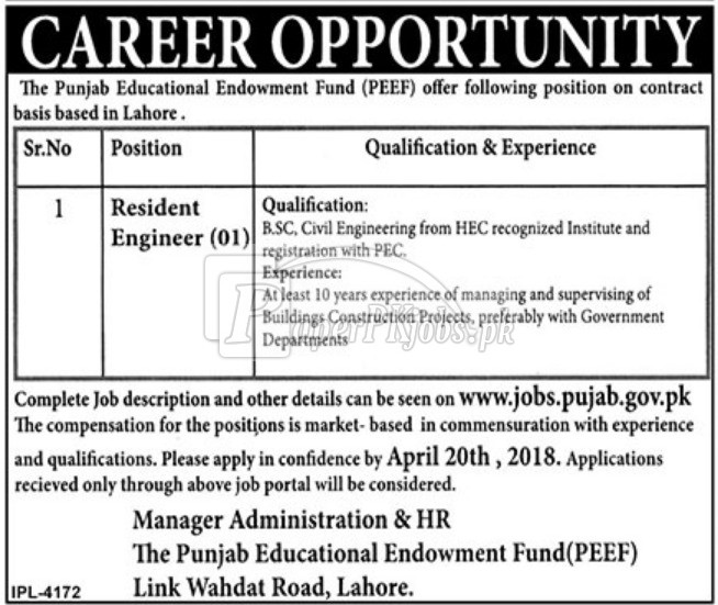 Punjab Educational Endowment Fund PEEF Jobs 2018