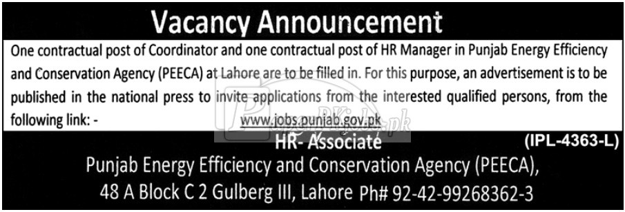 Punjab Energy Efficiency & Conservation Agency PEECA Jobs 2018