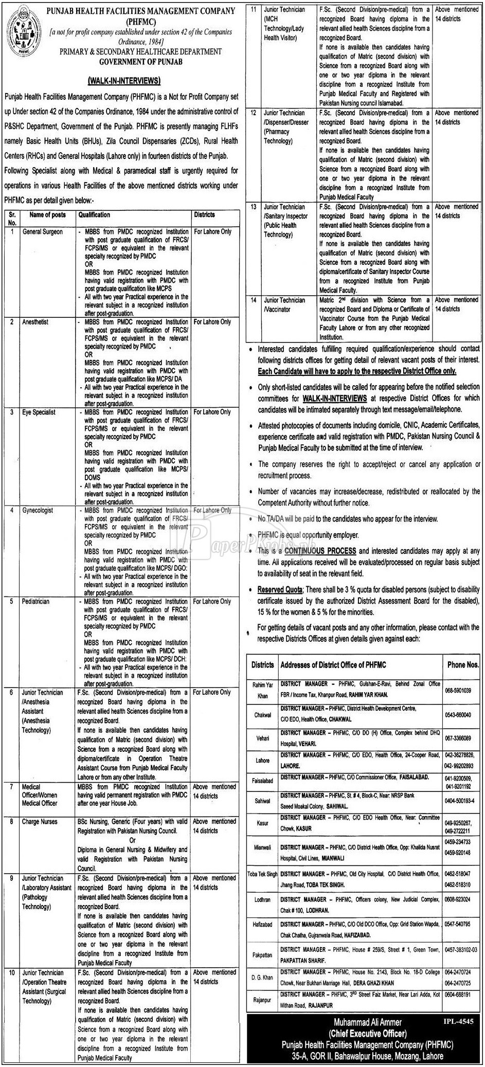 Punjab Health Facilities Management Company PHFMC Jobs 2018