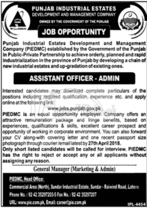 Punjab Industrial Estates Development and Management Company PIEDMC Jobs 2018