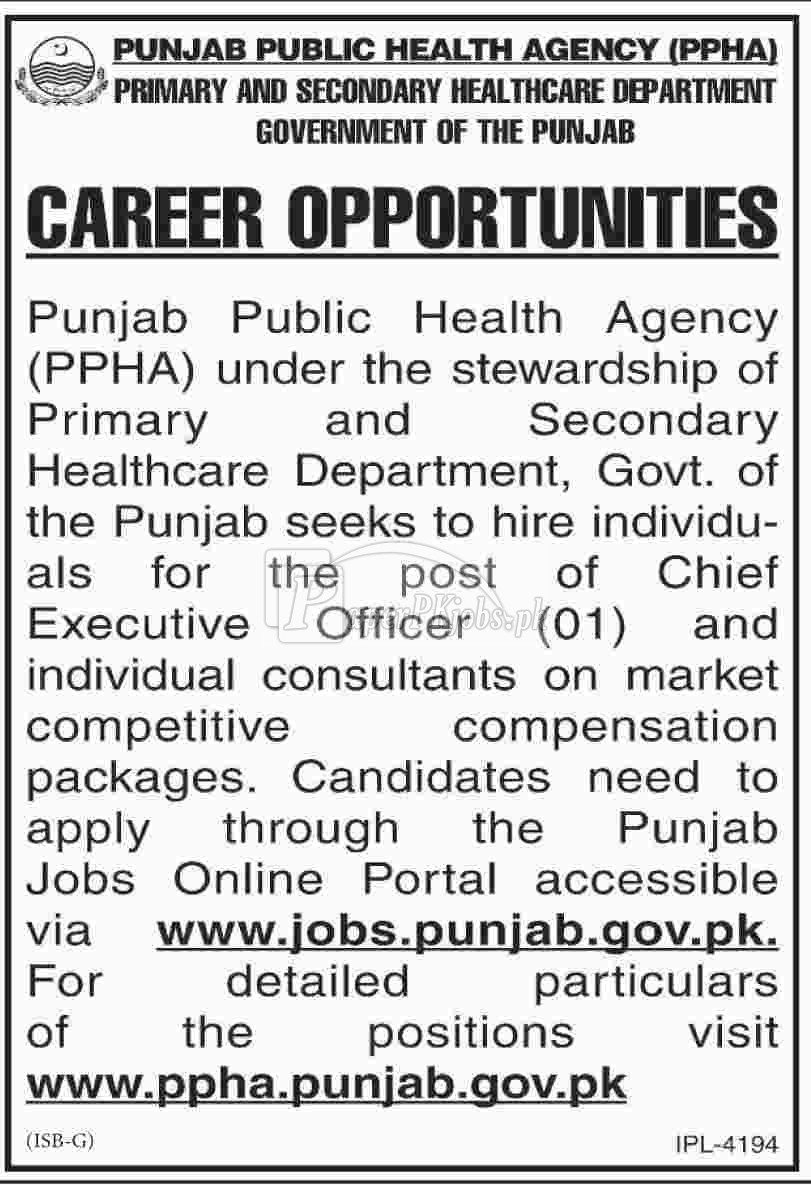 Punjab Public Health Agency PPHA Jobs 2018 Latest