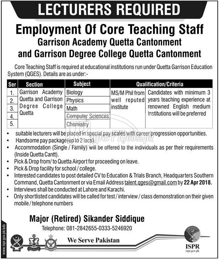 Quetta Garrison Education System QGES Jobs 2018