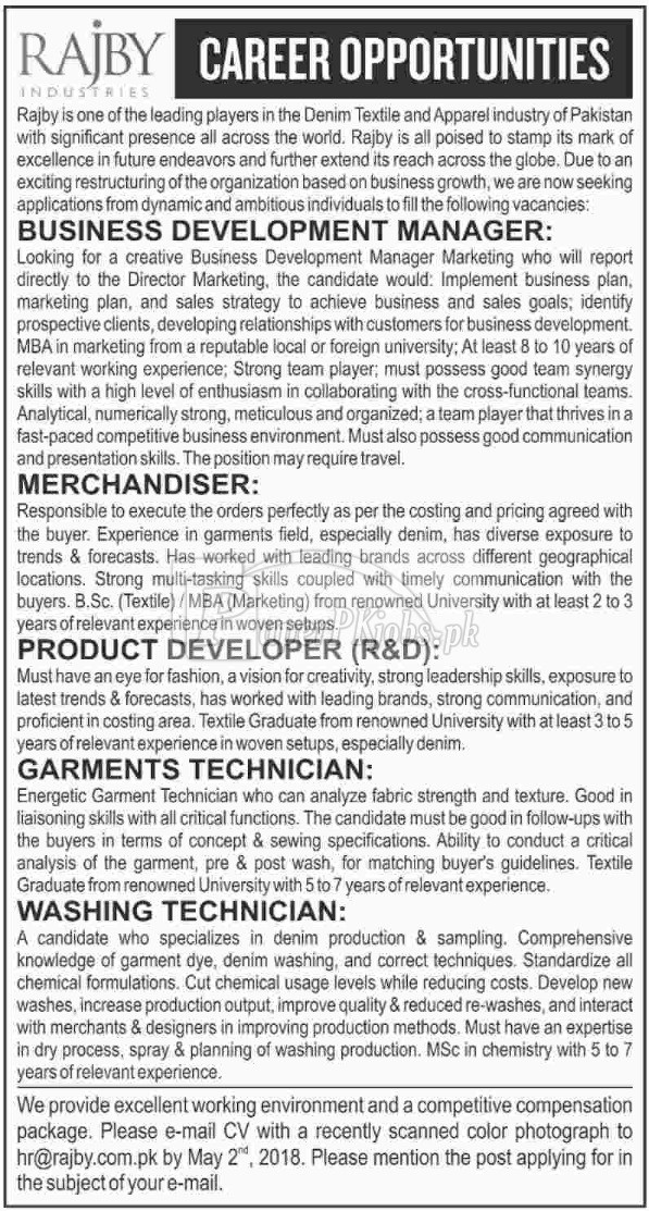 Rajby Industries Jobs 2018