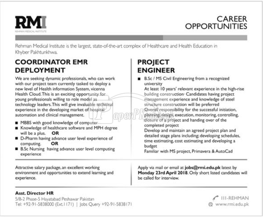 Rehman Medical Institute RMI Jobs 2018