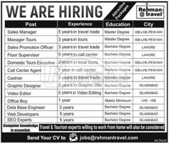 Rehman Travel Jobs 2018