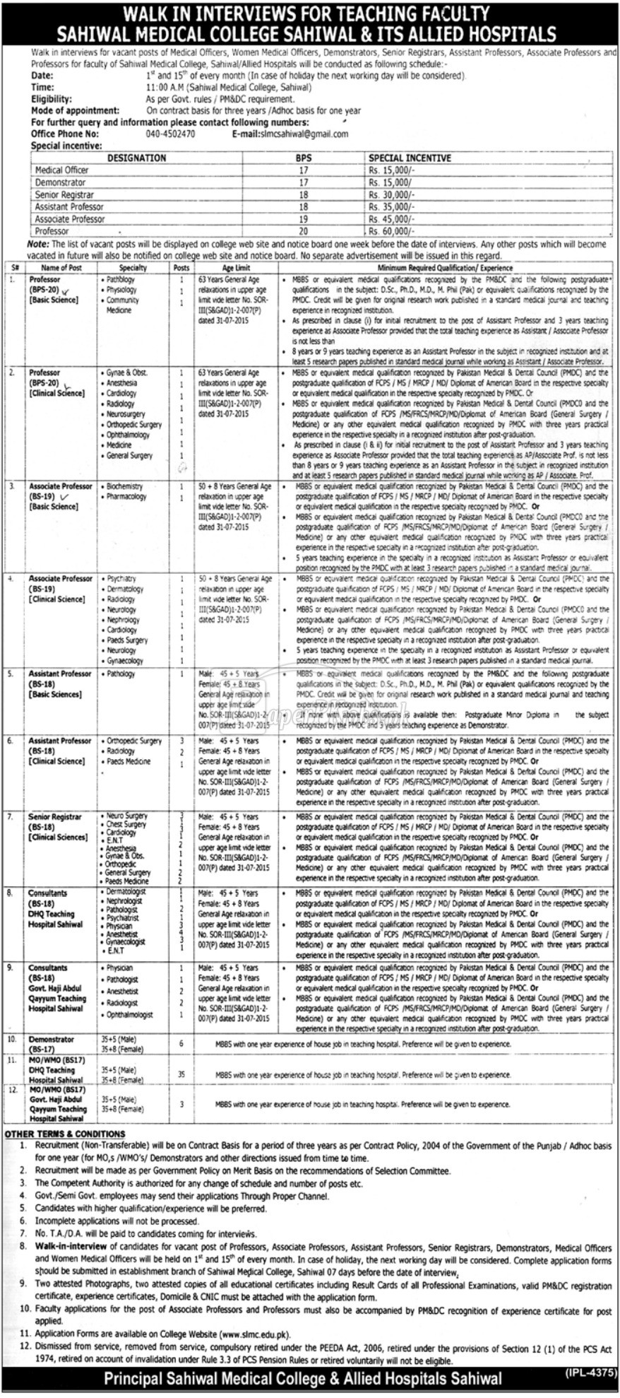 Sahiwal Medical College & Allied Hospitals Sahiwal Jobs 2018