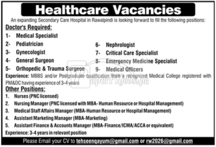 Secondary Care Hospital Rawalpindi Jobs 2018