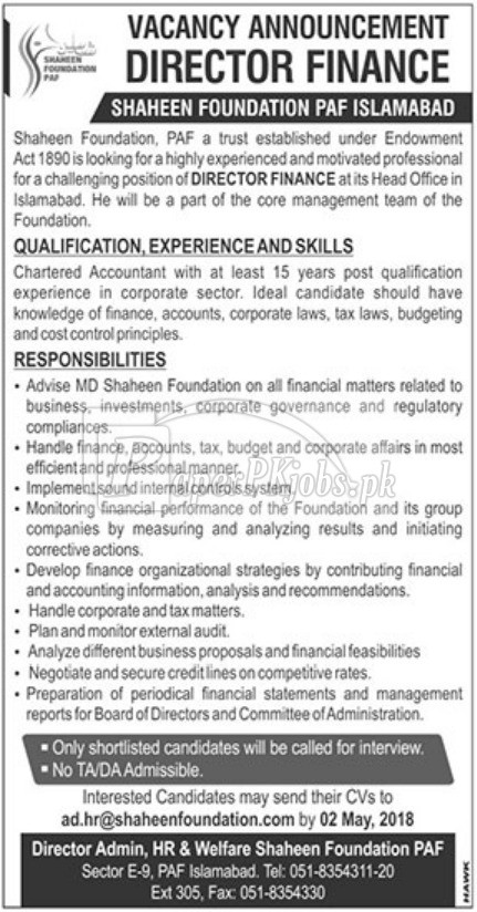 Shaheen Foundation PAF Islamabad Jobs 2018