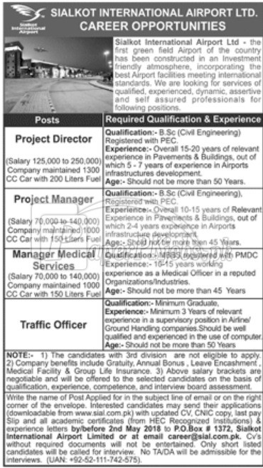Sialkot International Airport Ltd Jobs 2018