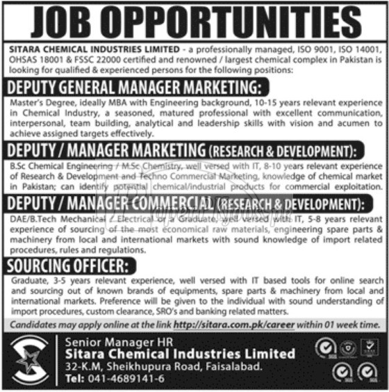 Sitara Chemical Industries Ltd Jobs 2018