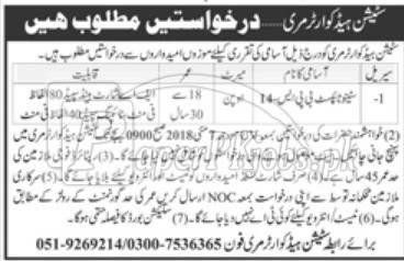 Station Headquarter Murree Jobs 2018