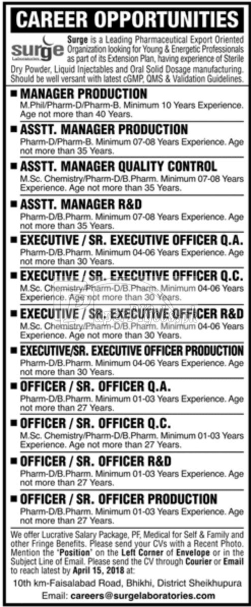 Surge Laboratories Jobs 2018