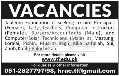 Taleem Foundation Jobs 2018