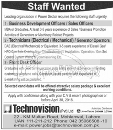 Technovision Pvt Ltd Jobs 2018