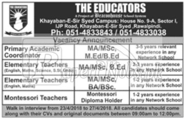 The Educators Rawalpindi Jobs 2018