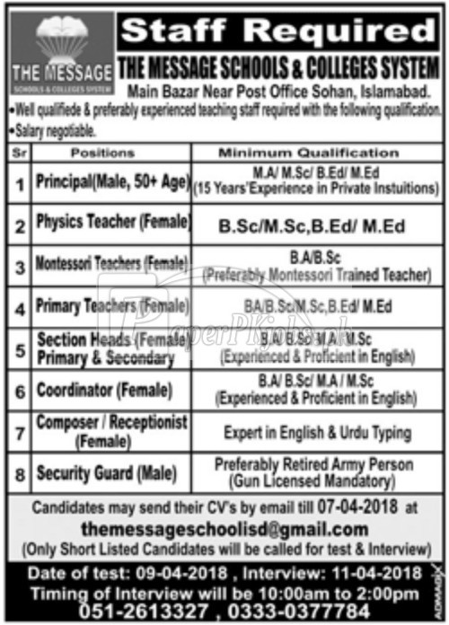 The Message Schools & Colleges System Islamabad Jobs 2018
