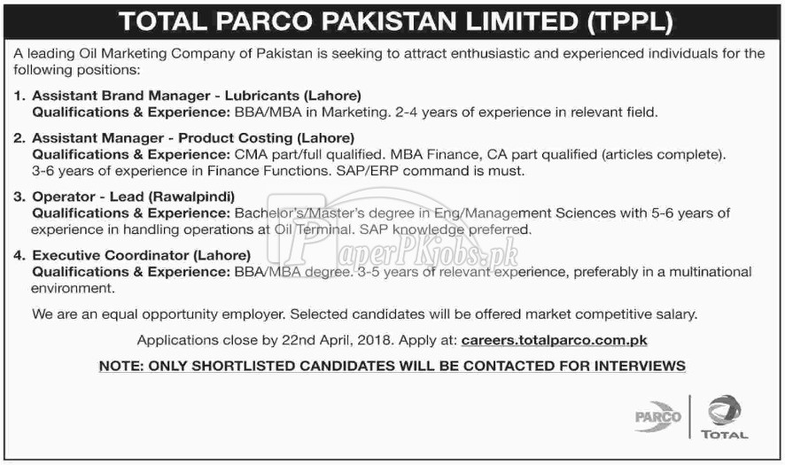 Total Parco Pakistan Limited Jobs 2018