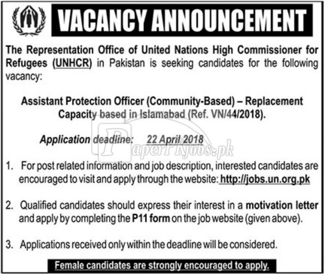 UNHCR Pakistan Jobs 2018