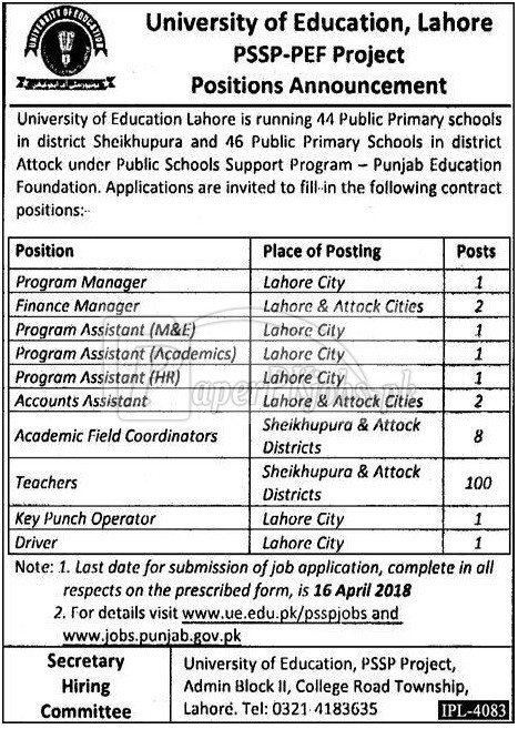 University of Education Lahore Jobs 2018