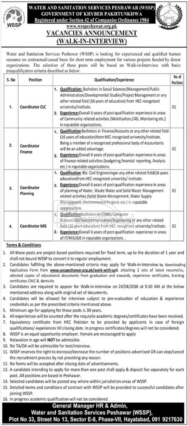 Water & Sanitation Services Peshawar WSSP Jobs 2018