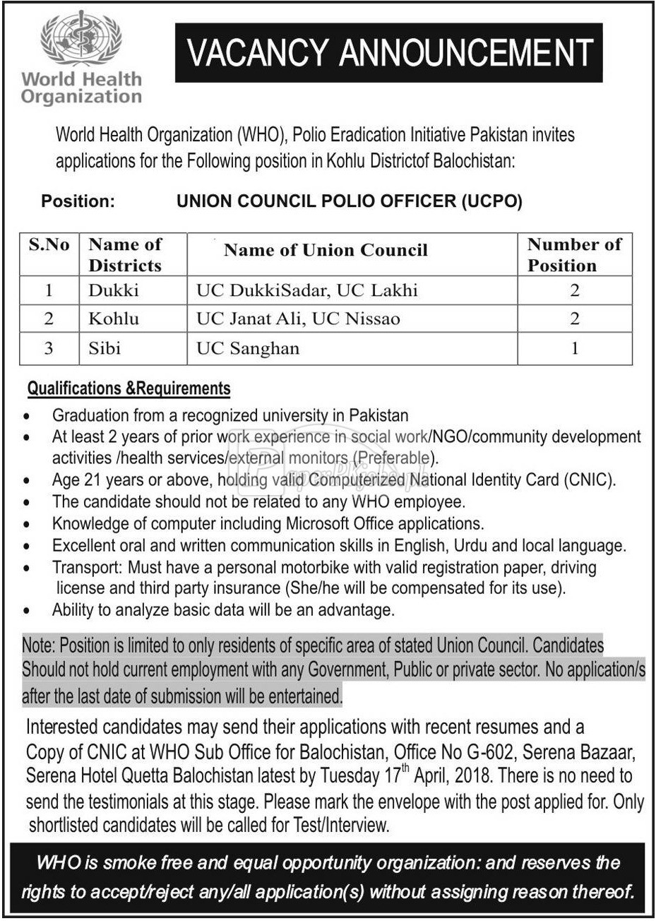 World Health Organization WHO Balochistan Jobs 2018(1)