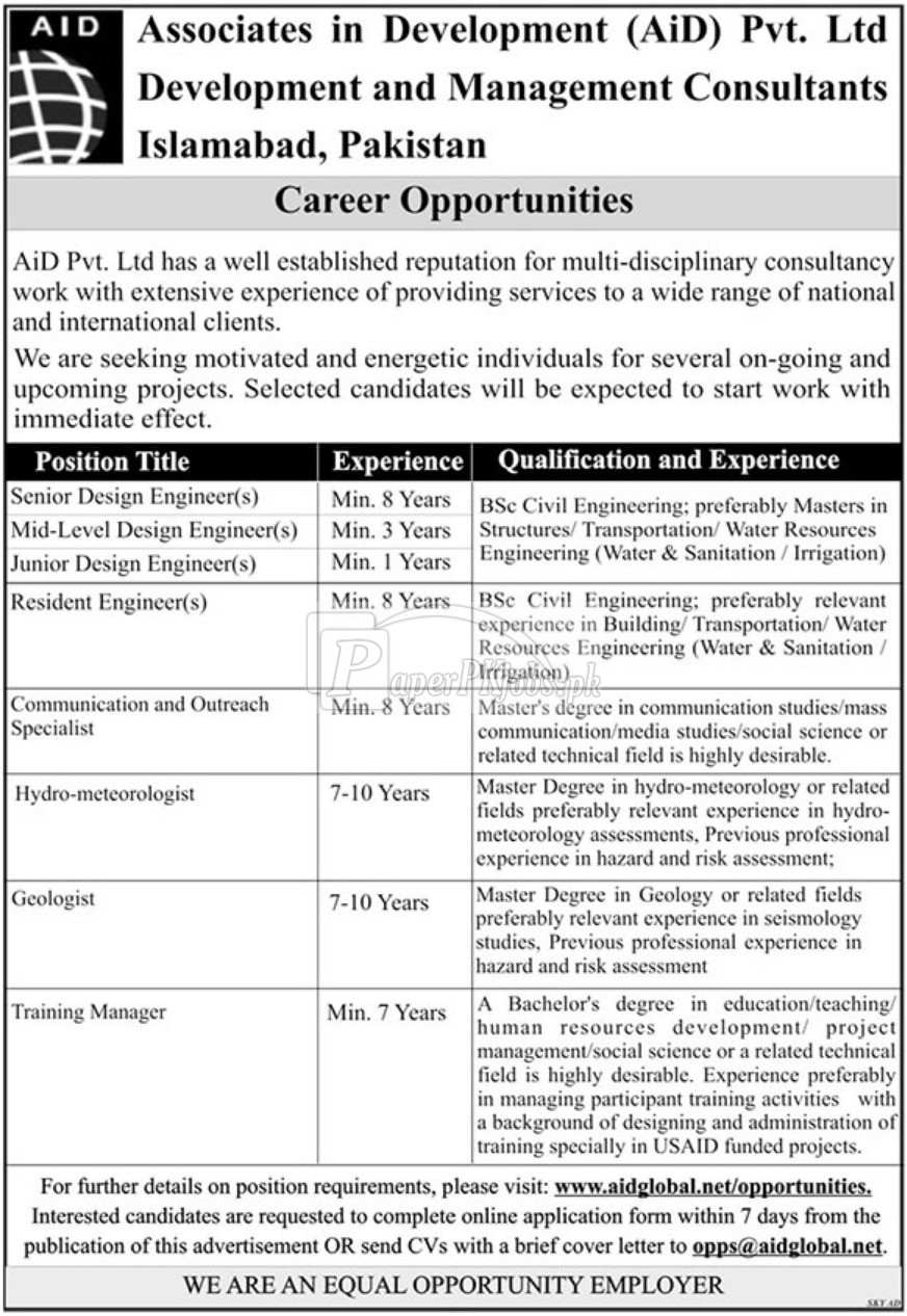 AID Pvt Ltd Jobs 2018