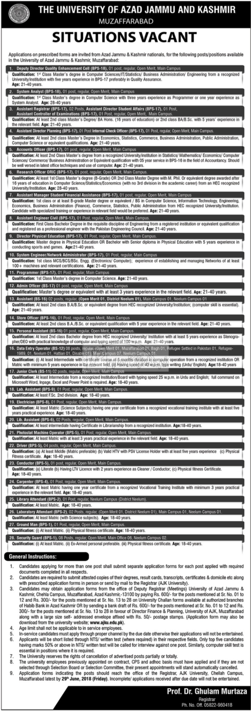AJK University Muzaffarabad Jobs 2018