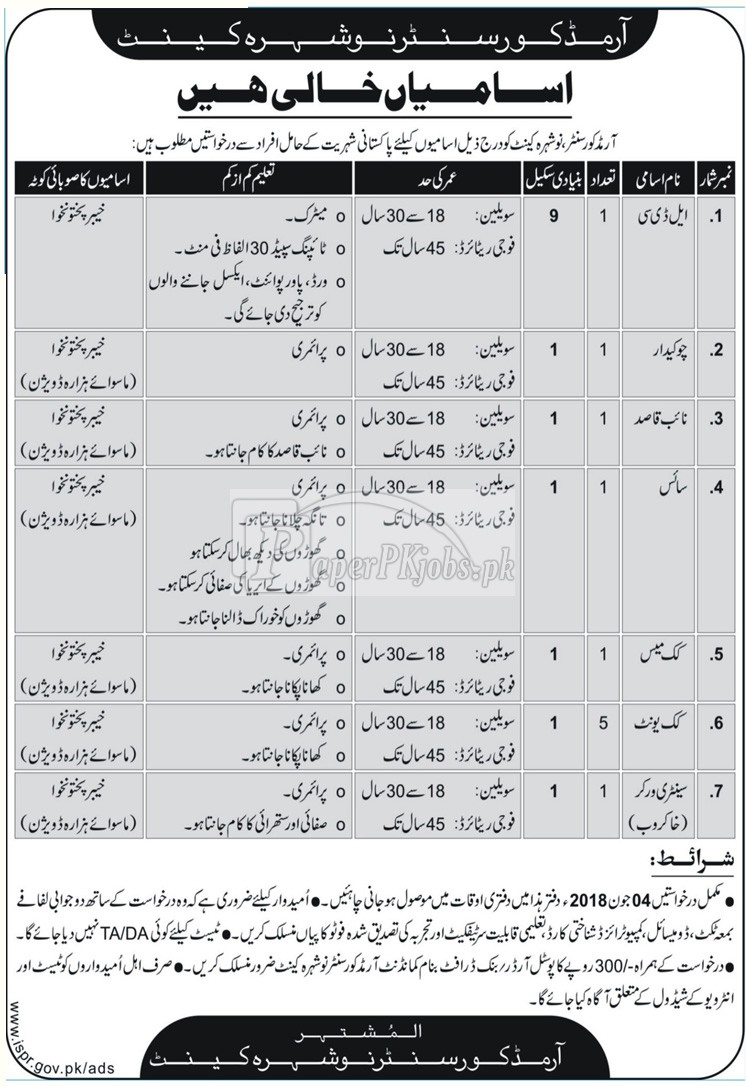 Armed Corps Center Nowshera Cantt Jobs 2018