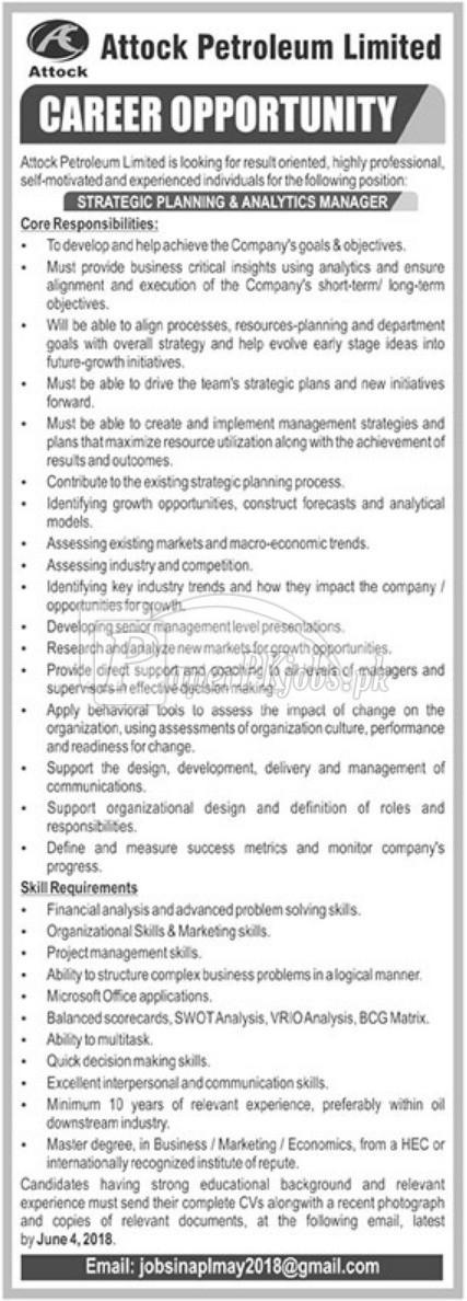 Attock Petroleum Ltd Jobs 2018