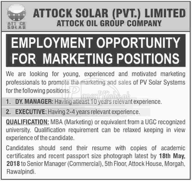 Attock Solar Pvt Ltd Jobs 2018