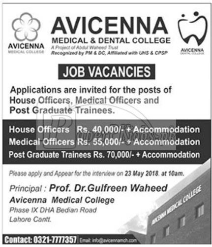 Avicenna Medical & Dental College Lahore Cantt Jobs 2018