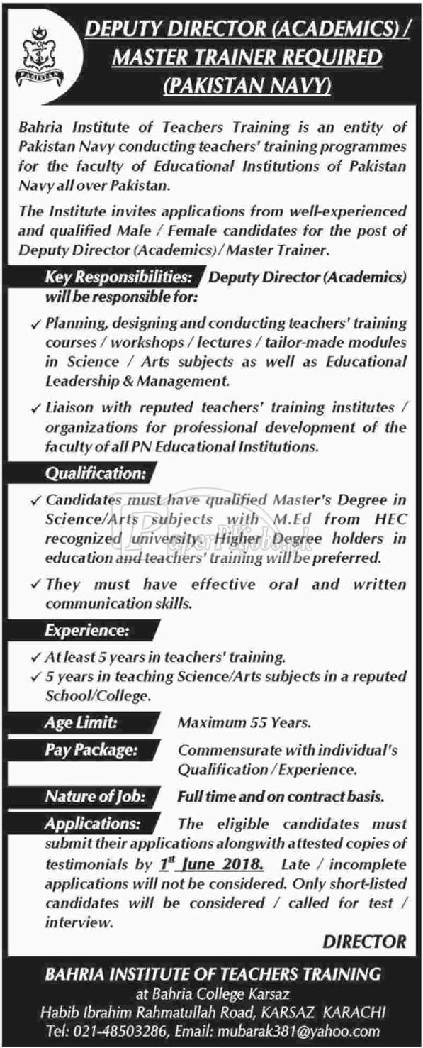 Bahria Institute of Teachers Training Karachi Jobs 2018