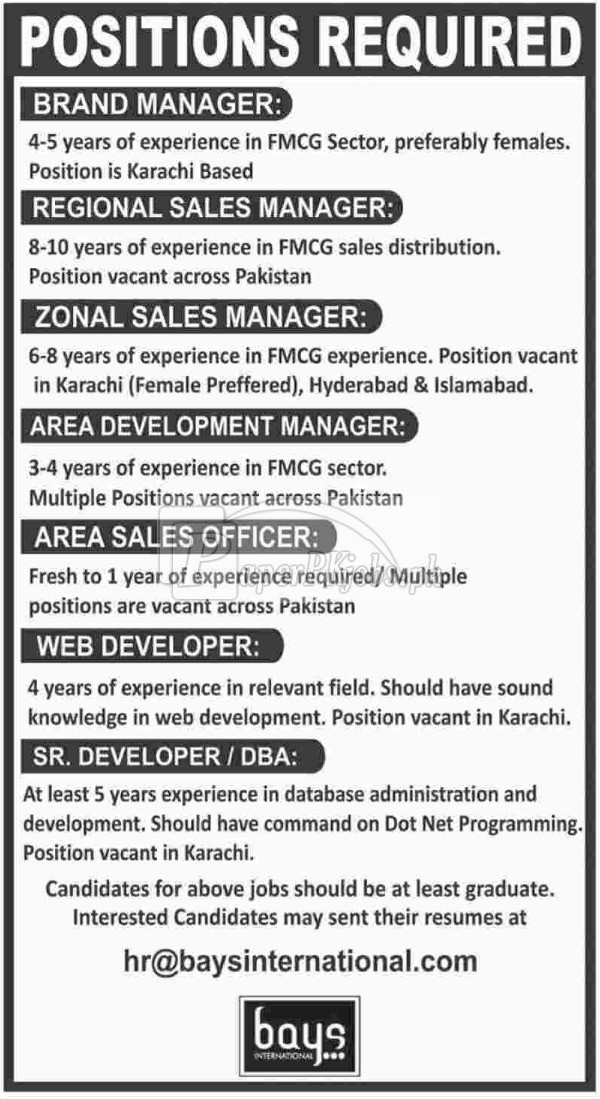 Bays International Jobs 2018