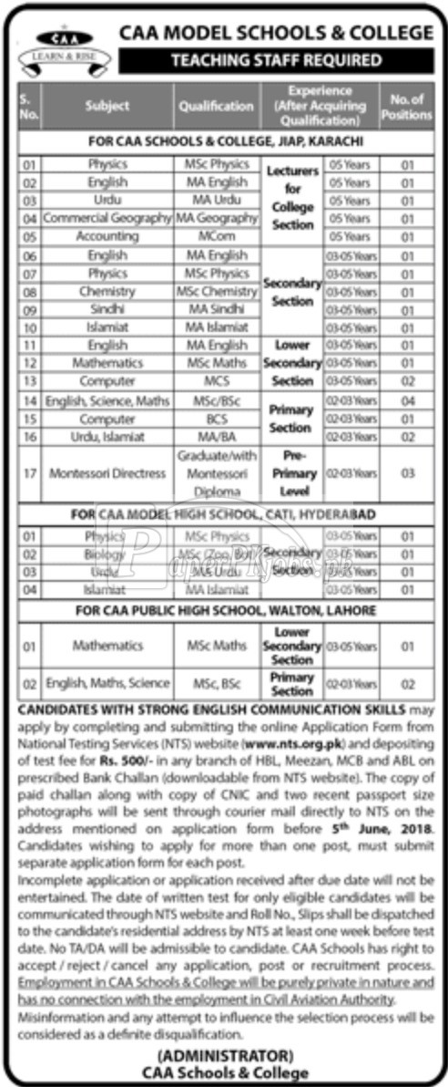 CAA Model Schools & College Jobs 2018