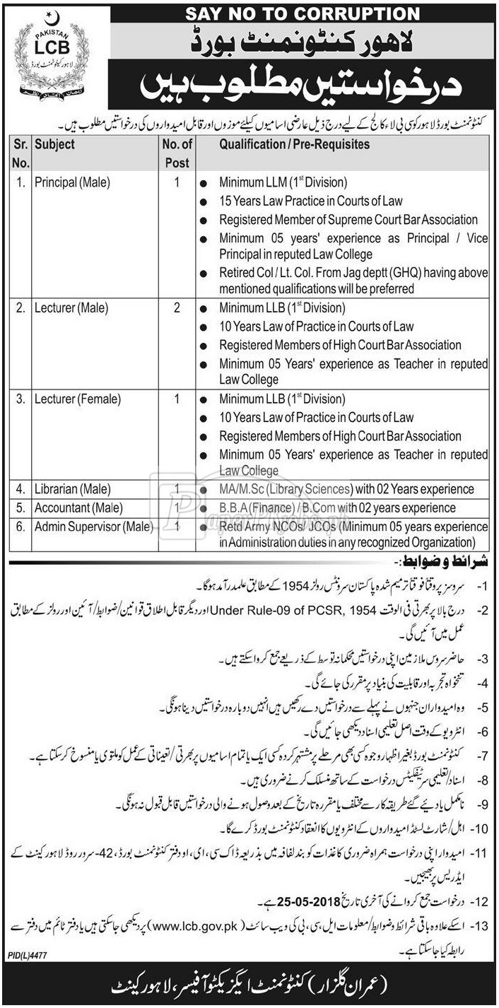 Cantonment Board Lahore Jobs 2018