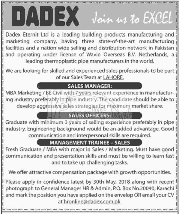 Dadex Eternit Ltd Jobs 2018