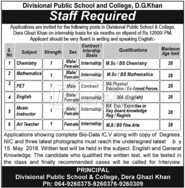 Divisional Public School & College D.G.Khan Jobs 2018