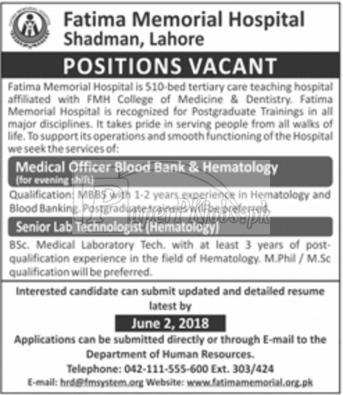 Fatima Memorial Hospital Shadman Lahore Jobs 2018