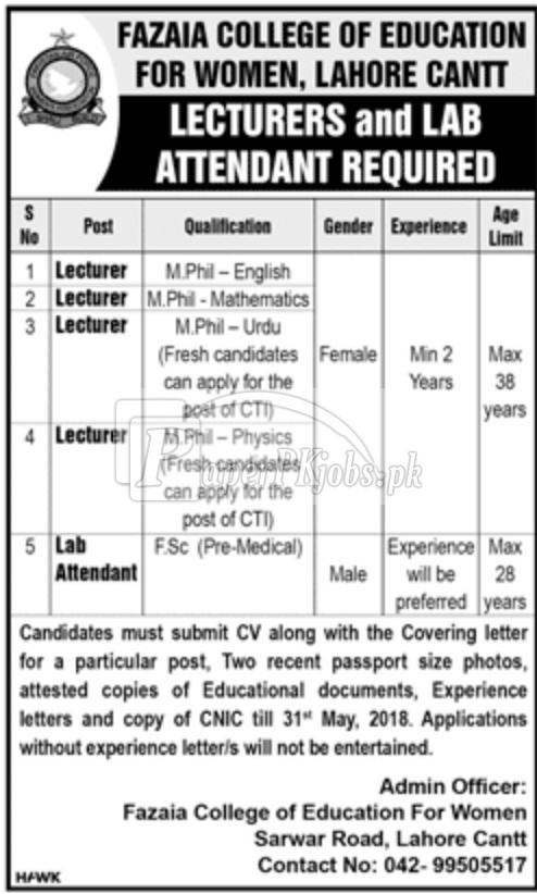 Fazaia College of Education for Women Lahore Cantt Jobs 2018