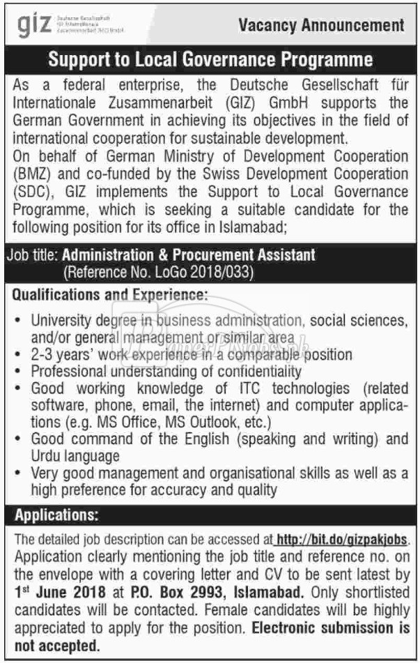 GIZ Pakistan Jobs 2018