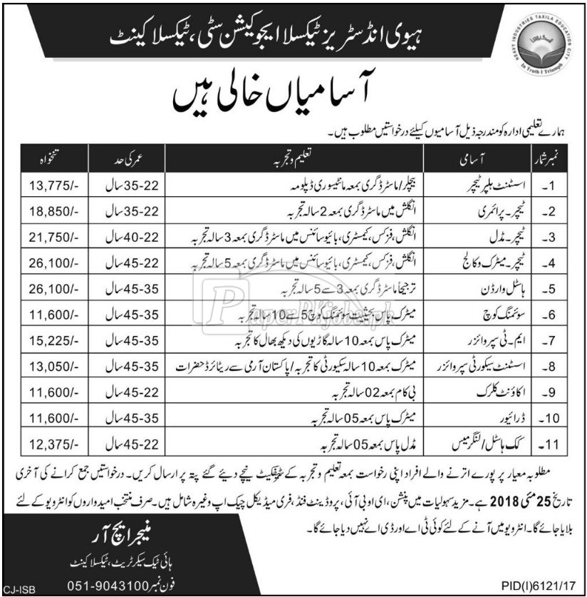 Heavy Industries Taxila Education City Taxila Cantt Jobs 2018