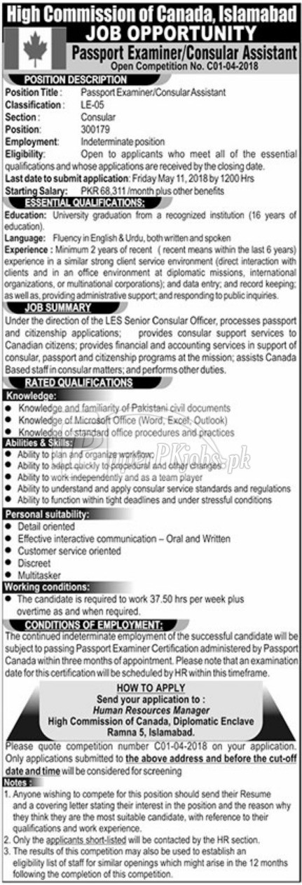 High Commission of Canada Islamabad Jobs 2018