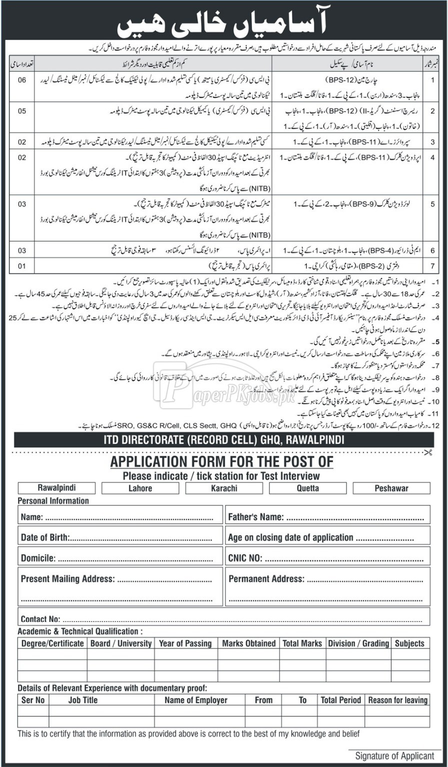 ITD Directorate Record Cell GHQ Rawalpindi Jobs 2018