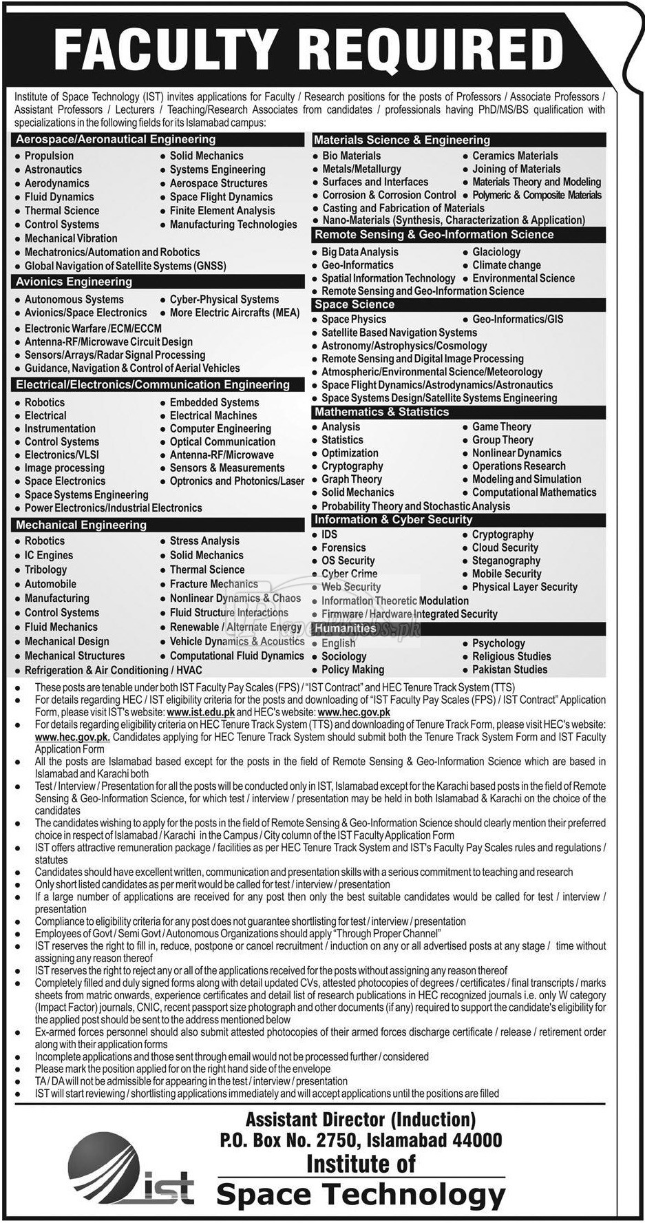 Institute of Space Technology IST Jobs 2018